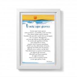 """Copertina di 'Quadretto preghiera """"Il sole ogni giorno"""" con passe-partout e cornice minimal'"""