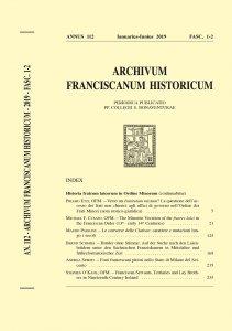 Archivum Franciscanum Historicum n. 2019/1-2