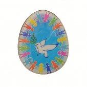 """Magnete a forma di uovo """"Girotondo della pace"""" - dimensioni 6x4,5 cm"""