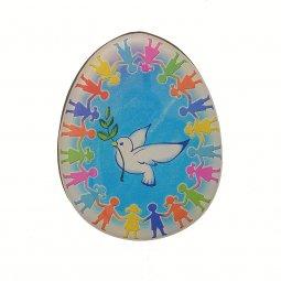 """Copertina di 'Magnete a forma di uovo """"Girotondo della pace"""" - dimensioni 6x4,5 cm'"""