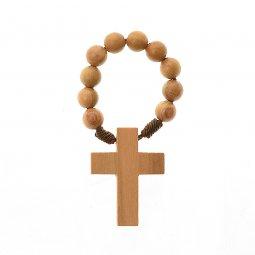 Copertina di 'Decina rosario in legno d'ulivo - grani tondi 6 mm'