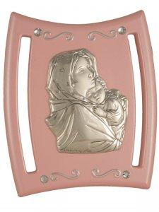 """Copertina di 'Icona con lamina d'argento e Swarovski """"Maria e Gesù"""" rosa - dimensioni 9x7,5 cm'"""