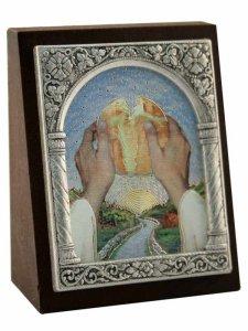 """Copertina di 'Icona in lamina d'argento """"Spezzò il pane..."""" - dimensioni 6,5x5,2 cm'"""