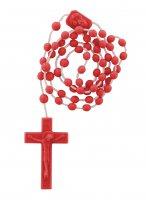 Rosario in plastica rosso 6 mm