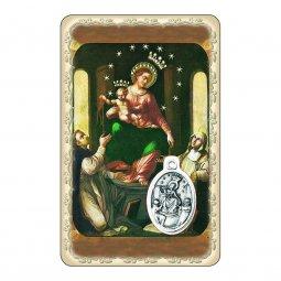"""Copertina di 'Card """"Santa Vergine del Rosario di Pompei"""" con preghiera e medaglia - (10 pezzi)'"""
