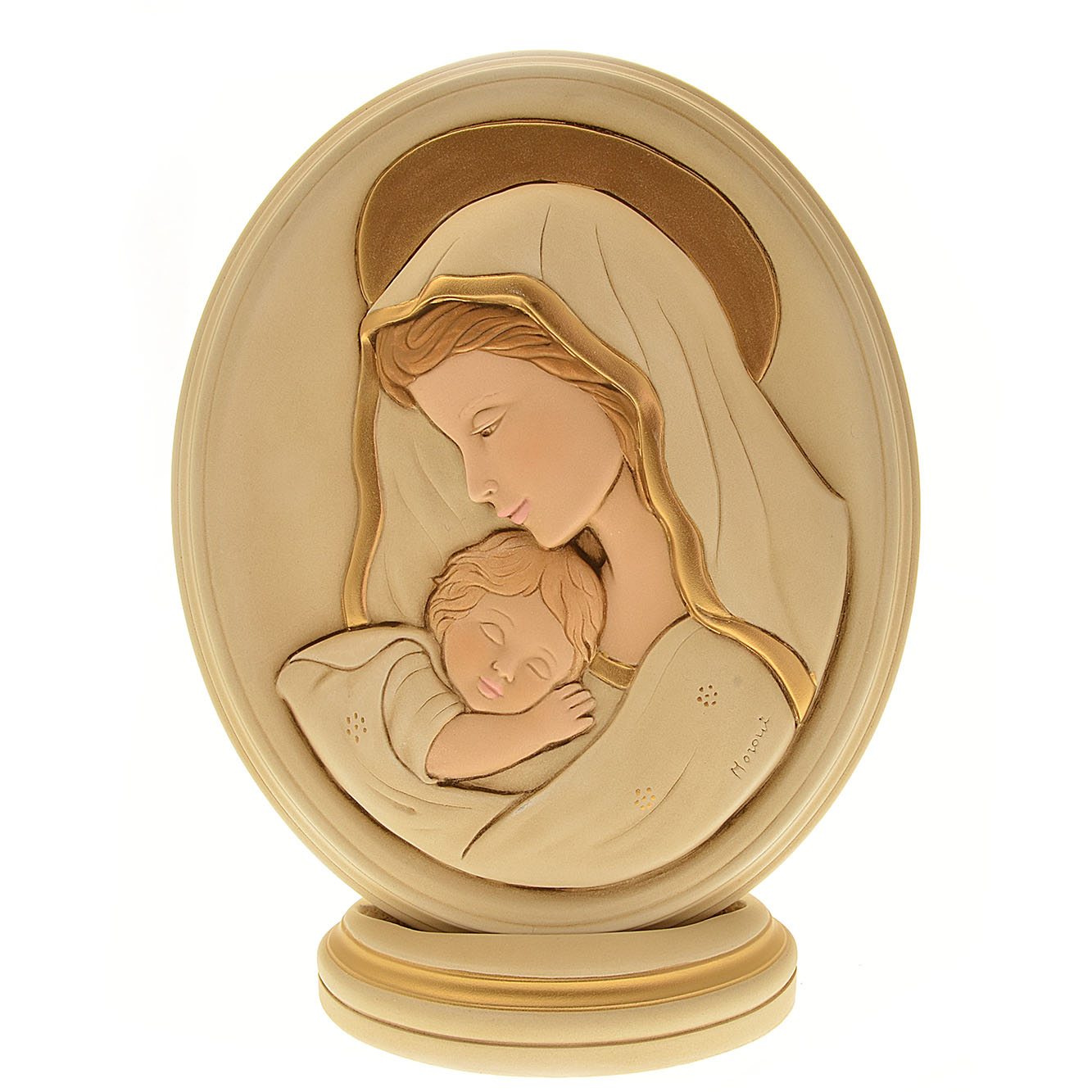 Ovale madonna col bambino 20 5 x 17 in resina italia for Oggetti usati in regalo