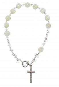 Copertina di 'Braccialetto 11 grani perlina bianca mm 5 con legatura a mano in metallo'