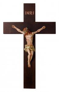 Copertina di 'Crocifisso in legno massello con Cristo in resina colorata - altezza 28 cm'