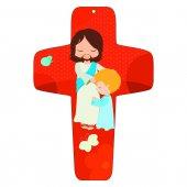 """Croce rossa """"Gesù e il bambino"""" - altezza 13 cm"""