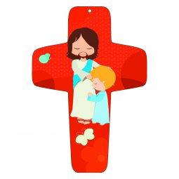 """Copertina di 'Croce rossa """"Gesù e il bambino"""" - altezza 13 cm'"""