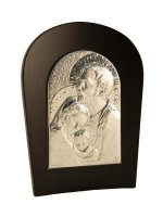 "Icona in lamina d'argento ""Sacra Famiglia"" - dimensioni 17,5x13,5 cm"