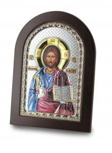 Copertina di 'Icona Cristo con libro aperto Greca a forma di arco con lastra in argento - 10 x 14 cm'