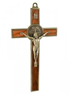 Copertina di 'Croce di San Benedetto in legno d'ulivo con Gesù argentato - altezza 20 cm'