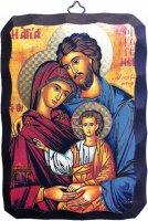 """Icona in legno di stile bizantino """"Sacra Famiglia"""" - 10 x 15 cm"""