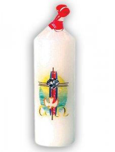 """Copertina di 'Candela bianca con stampa a colori """"croce, colomba, alfa ed omega"""" - altezza 14 cm'"""