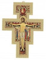Croce di San Damiano con sfondo dorato - dimensioni 8,6x6,7 cm