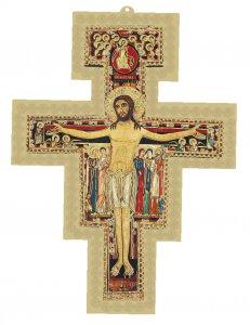 Copertina di 'Croce di San Damiano con sfondo dorato - dimensioni 6,7x8,6 cm'