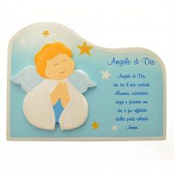 "Copertina di 'Nuvoletta in legno ""Angelo di Dio"" azzurra - dimensioni 15x20 cm'"