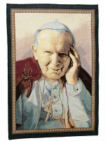 """Arazzo """"Giovanni Paolo II"""" (65cm x 46cm)"""