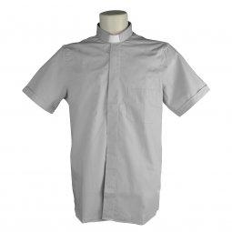 Copertina di 'Camicia clergyman grigio chiaro mezza manica 100% cotone - collo 45'