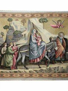 """Copertina di 'Arazzo sacro """"Fuga in Egitto"""" - dimensioni 94x132 cm'"""