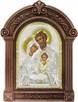 Icona in argento Sacra Famiglia con cornice in legno cm 16,5x24