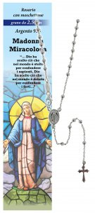Copertina di 'Rosario Madonna Miracolosa in argento 925 con grani da Ø 2,5 mm e preghiera in italiano'