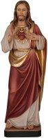 """Statua in legno dipinta a mano """"Sacro cuore di Gesù"""" - altezza 34 cm"""