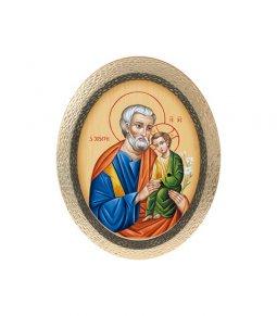 """Copertina di 'Icona ovale in polimero con cavalletto """"San Giuseppe e Bambinello"""" - 25 cm'"""
