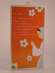"""Copertina di 'Quadretto colorato con preghiera """"Ave Maria"""" - dimensioni 15x8,5 cm'"""