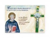 Croce di San Benedetto in metallo e smalto verde - dimensioni 8x4 cm