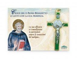 Copertina di 'Croce di San Benedetto in metallo e smalto verde - dimensioni 8x4 cm'