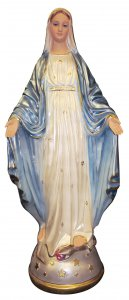 Copertina di 'Statua Madonna Miracolosa in gesso madreperlato dipinta a mano - 80 cm'