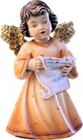 Statuina dell'angioletto che canta, linea da 10 cm, in legno dipinto a mano, collezione Angeli Sissi - Demetz Deur