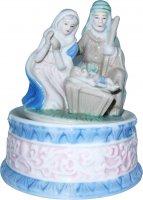 Natività ceramica con carillon cm 15