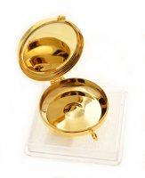 """Immagine di 'Teca eucaristica porta ostie dorata con coperchio smaltato """"Pesce e ancora"""" - diametro 5,2 cm'"""