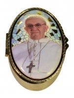 """Portarosario ovale in metallo """"Papa Francesco"""" - dimensioni 6x4 cm"""