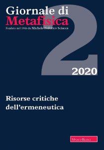 Copertina di 'Giornale di Metafisica. 2/2020 (vol. 42): Risorse critiche dell'ermeneutica'