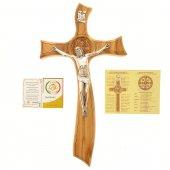 Immagine di 'Croce di san Benedetto in legno d'ulivo e stile moderno - dimensioni 21x11 cm'