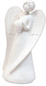 """Copertina di 'Statua in resina bianca """"Angelo con cuore"""" - altezza 13,5 cm'"""