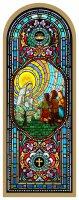 Quadro Madonna di Fatima in legno ad arco - 10 x 27 cm