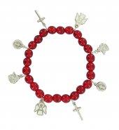 Braccialetto elastico grani in vetro rosso e pendenti