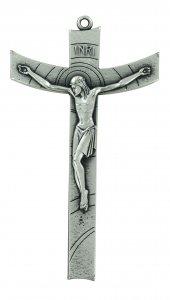 Copertina di 'Crocifisso da parete stile moderno in metallo argentato - 14 cm'