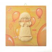 Quadretto in legno giallo con palloncini e angelo in rilievo - dimensioni 14x14 cm