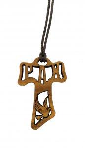 Copertina di 'Croce tau in legno di ulivo traforata con i simboli della cresima - 4 cm'