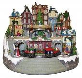 Villaggio natalizio con treno e negozi, movimento, luci, musica (42 x 38,5 x 35 cm)