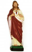 Statua Sacro Cuore di Gesù in materiale infrangibile dipinta a mano - cm 30 di  su LibreriadelSanto.it