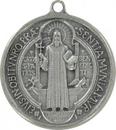 Medaglia San Benedetto in metallo argentato ossidato - 3 cm