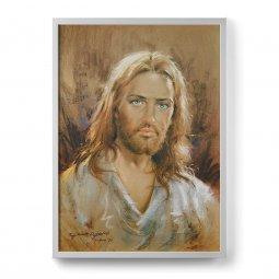 """Copertina di 'Quadro """"Volto di Gesù"""" moderno con cornice minimal - dimensioni 73x53 cm'"""