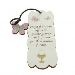 Copertina di 'Segnalibro sagomato con ciondolo in legno rosa a farfalla - dimensioni 15x5cm'